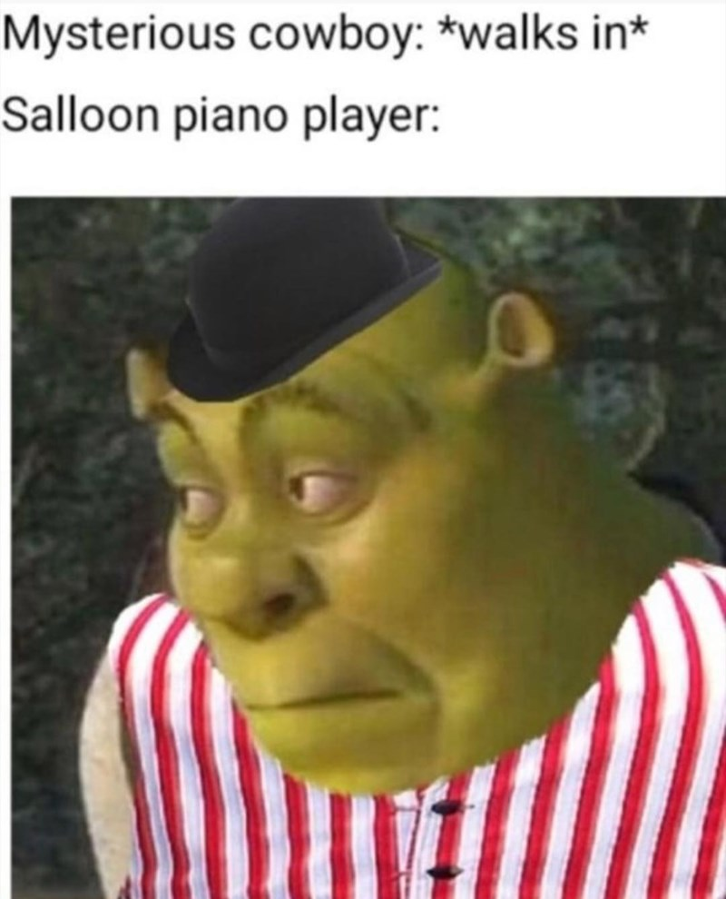 Photo caption - Mysterious cowboy: *walks in* Salloon piano player: