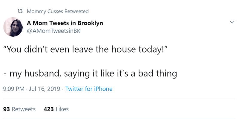 "Text - t Mommy Cusses Retweeted A Mom Tweets in Brooklyn @AMomTweetsinBK ""You didn't even leave the house today!"" my husband, saying it like it's a bad thing 9:09 PM Jul 16, 2019 Twitter for iPhone 93 Retweets 423 Likes"