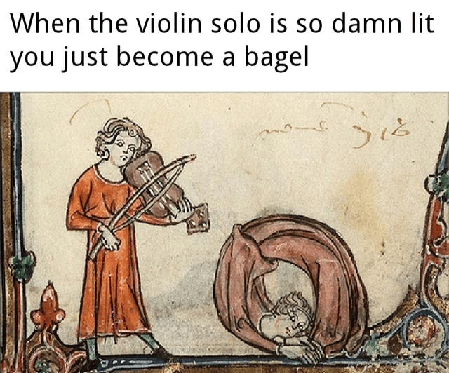 Cartoon - When the violin solo is so damn lit you just become a bagel