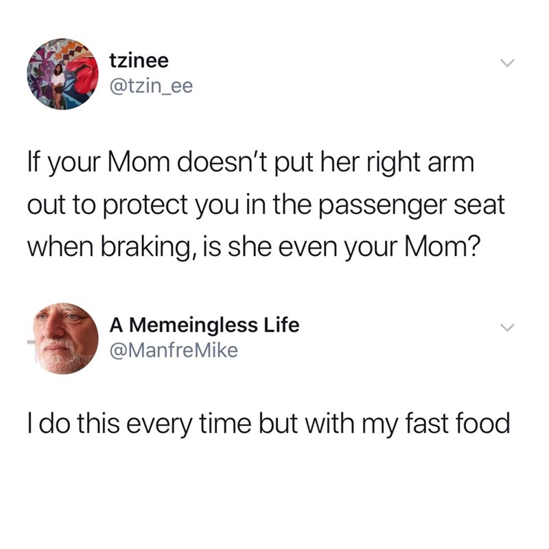 funny tweet - Text - tzinee @tzin_ee If your Mom doesn't put her right arm out to protect you in the passenger seat when braking, is she even your Mom? A Memeingless Life @ManfreMike I do this every time but with my fast food