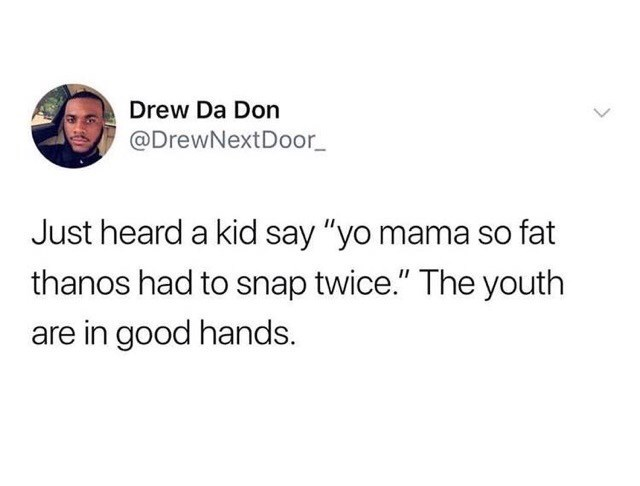 """Text - Drew Da Don @DrewNextDoor_ Just heard a kid say """"yo mama so fat thanos had to snap twice."""" The youth are in good hands"""