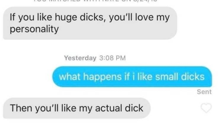 Text - If you like huge dicks, you'll love my personality Yesterday 3:08 PM what happens if i like small dicks Sent Then you'll like my actual dick