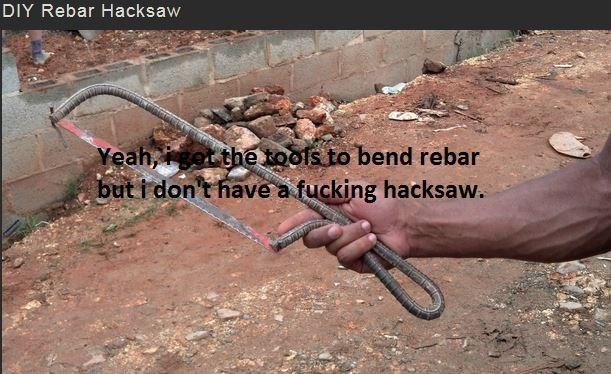 Soil - DIY Rebar Hacksaw Yeah,got the toofs to bend rebar but i don't have a fucking hacksaw.