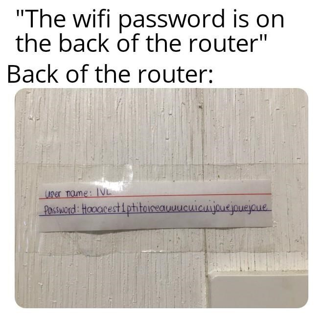 """Text - """"The wifi password is on the back of the router"""" Back of the router: User name: 1VL Pastword: Haoarestiphitoiseauuucuicnjauejouajoue"""