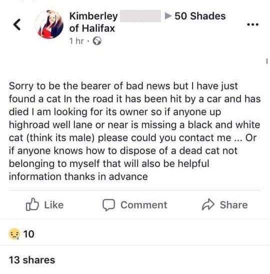 "Facebook - ""Sorry to be the bearer of bad news but I have just found a cat In the road it has been hit by a car and has died I am looking for its owner so if anyone up highroad well lane or near is missing a black and white cat (think its male) please could you contact me... Or if anyone knows how to dispose of a dead cat not belonging to myself that will also be helpful information thanks in advance"""