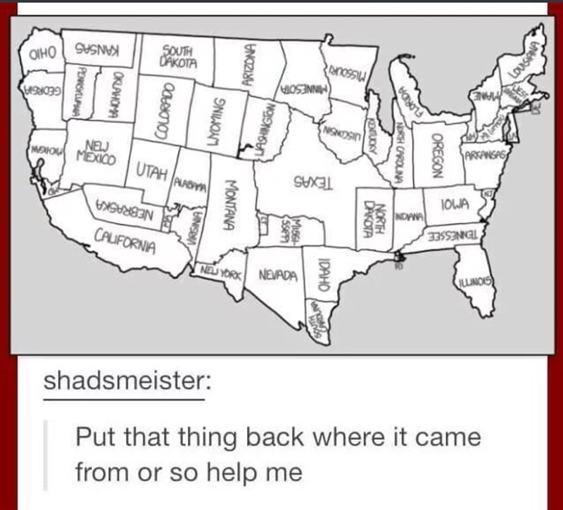 Tumblr post of an entirely incorrect map