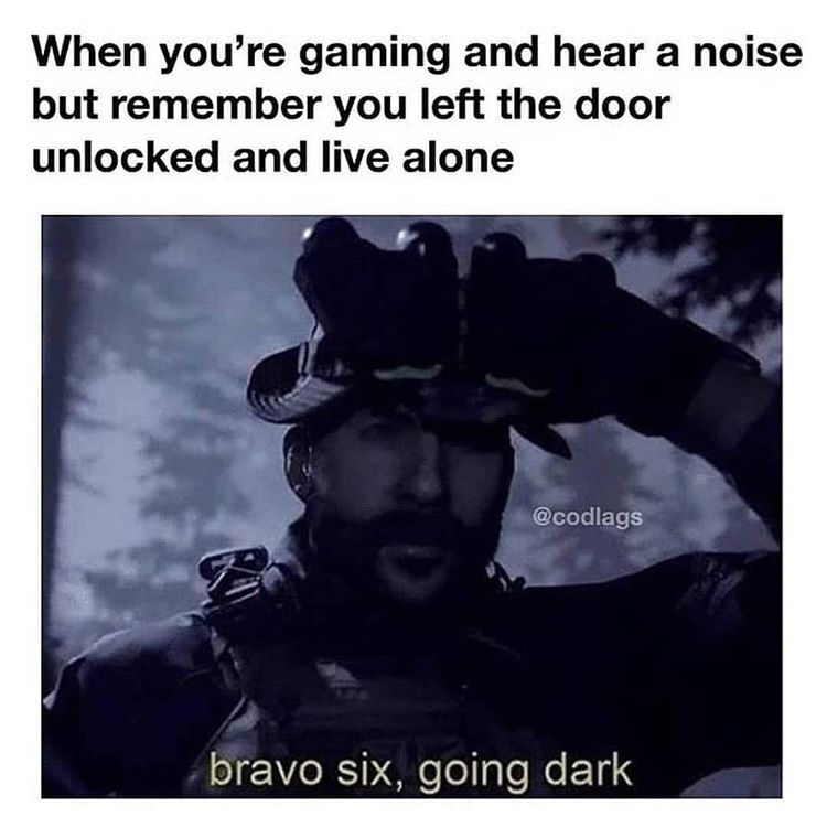 Text - When you're gaming and hear a noise but remember you left the door unlocked and live alone @codlags bravo six, going dark