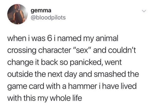 """Text - gemma @bloodpilots when i was 6 i named my animal crossing character """"sex"""" and couldn't change it back so panicked, went outside the next day and smashed the game card with a hammer i have lived with this my whole life"""