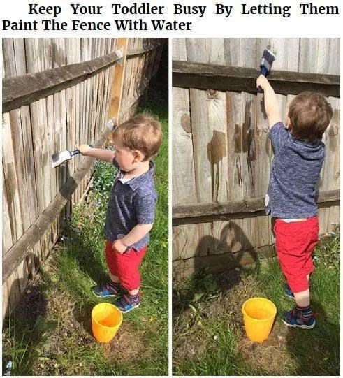 Play - Keep Your Toddler Busy By Letting Them Paint The Fence With Water