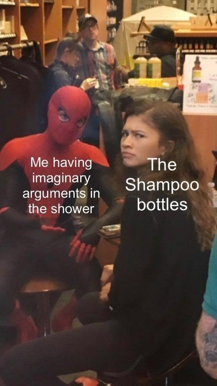 Photography - Me having imaginary arguments in the shower The Shampoo bottles
