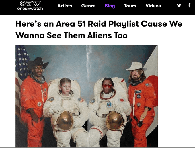 """Here's an Area 51 Raid Playlist Cause We Wanna See Them Aliens Too"""
