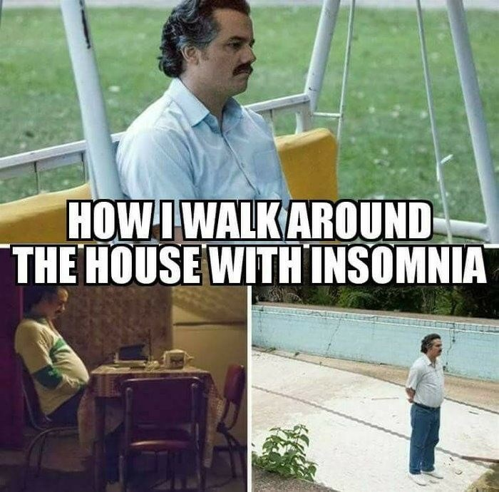 "Meme - ""HOW I WALK AROUND THE HOUSE WITH INSOMNIA"""