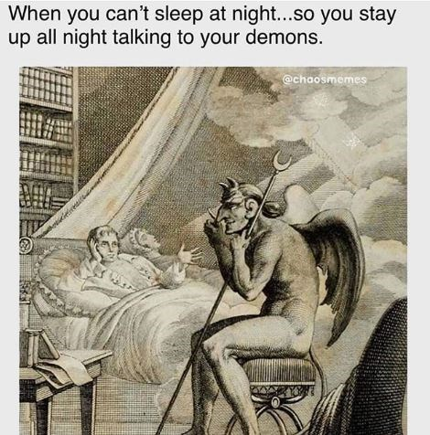 Cartoon - When you can't sleep at night...so you stay up all night talking to your demons. @chaosmemes