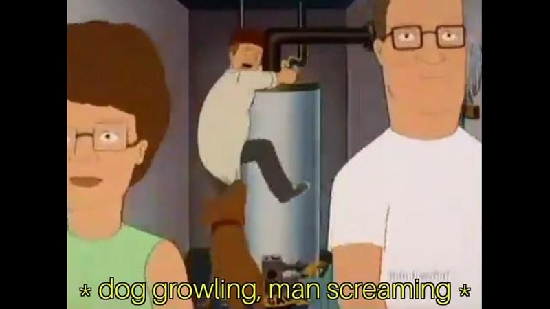 Cartoon - dog growling, man screaming