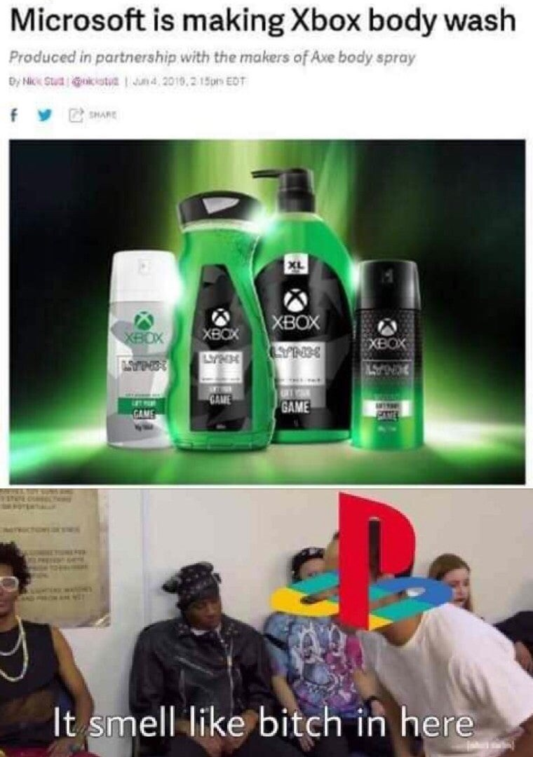 Product - Microsoft is making Xbox body wash Produced in partnership with the makers of Ave body spray By Nck Ctua kistn4,2018,21pm EOT fy SHARE XL XBOX XBOX XBOX XBOX LYPE 3NA INGAST GAME GAME GAME It smell like bitch in here 8862 3