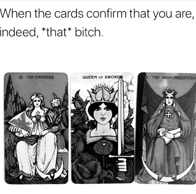 Cartoon - When the cards confirm that you are, indeed, *that* bitch m-THE EMPRESS THE HIGH PRIESTESS QUEEN OF SWORDS