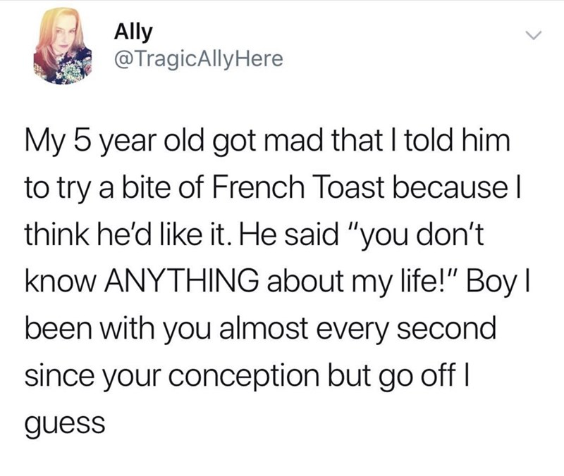 "Text - Ally @TragicAllyHere My 5 year old got mad that I told him to try a bite of French Toast because think he'd like it. He said ""you don't know ANYTHING about my life!"" Boy I been with you almost every second since your conception but go off l guess"