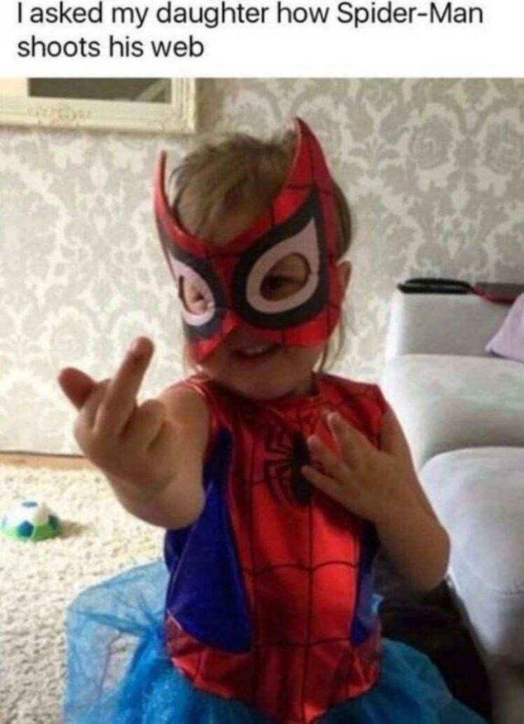 Spider-man - asked my daughter how Spider-Man shoots his web