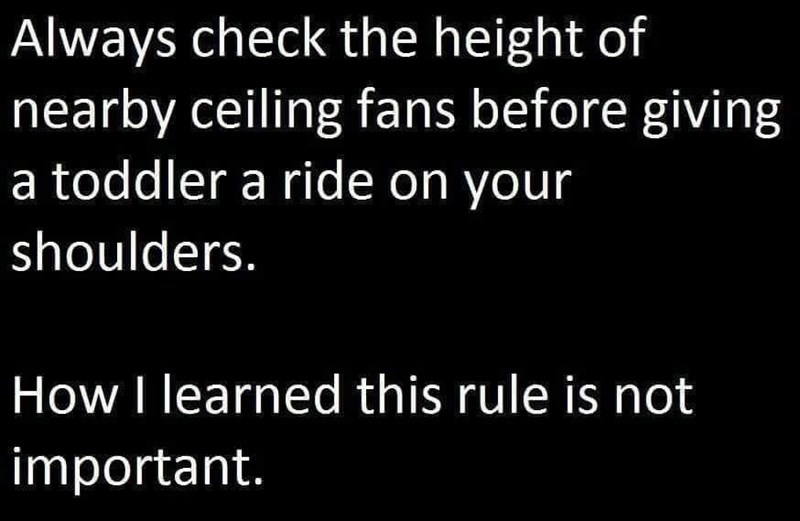 Text - Always check the height of nearby ceiling fans before giving a toddler a ride on your shoulders. How I learned this rule is not important.