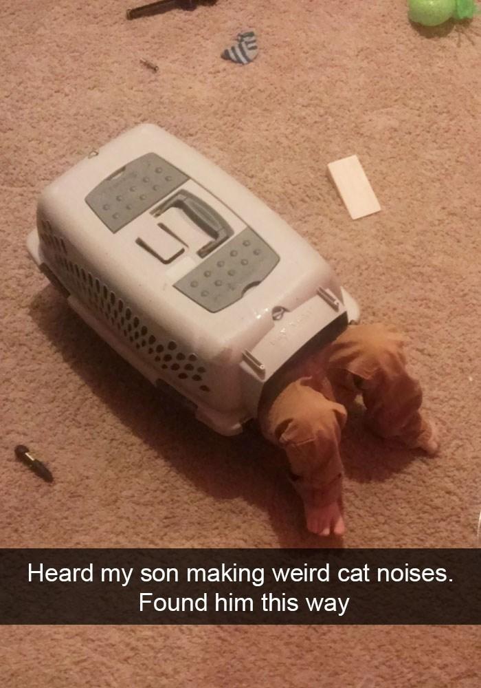 Technology - LI Heard my son making weird cat noises. Found him this way