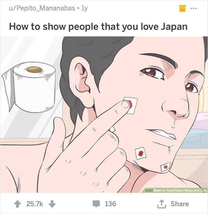 wikihow - Face - u/Pepito Mananabas ly How to show people that you love Japan wiki How to Treat Razor Nicks and Cits T,Share 25.7k 136