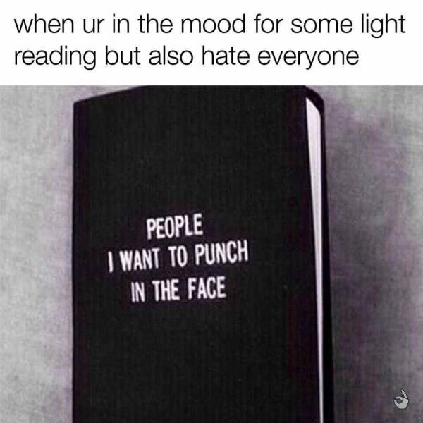 Text - when ur in the mood for some light reading but also hate everyone PEOPLE I WANT TO PUNCH IN THE FACE