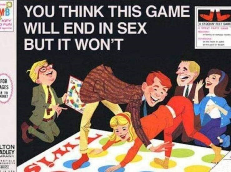 Cartoon - MYOU THINK THIS GAME R WILL END IN SEX BUT IT WON'T KEV PUN A STOCKIN FLET GAME FOR AGES 8 10 LTON ADLEY MPANY