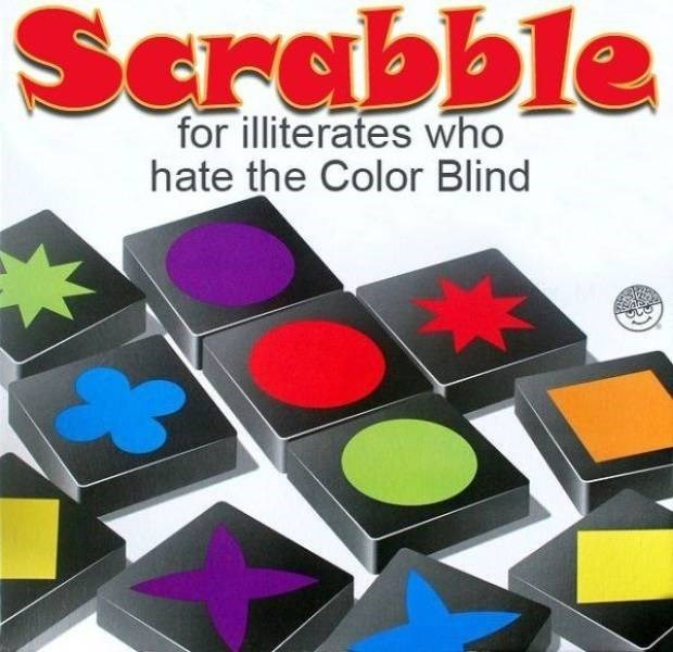 Games - Scrabble for illiterates who hate the Color Blind