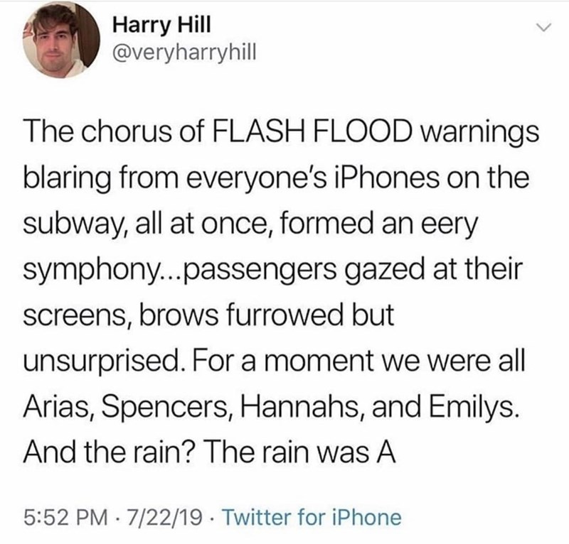 Text - Harry Hill @veryharryhill The chorus of FLASH FLOOD warnings blaring from everyone's iPhones on the subway, all at once, formed an eery symphony...passengers gazed at their screens, brows furrowed but unsurprised. For a moment we were all Arias, Spencers, Hannahs, and Emilys. And the rain? The rain was A 5:52 PM 7/22/19 Twitter for iPhone