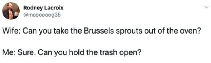 Text - Rodney Lacroix @moooooog35 |Wife: Can you take the Brussels sprouts out of the overn? Me: Sure. Can you hold the trash open?
