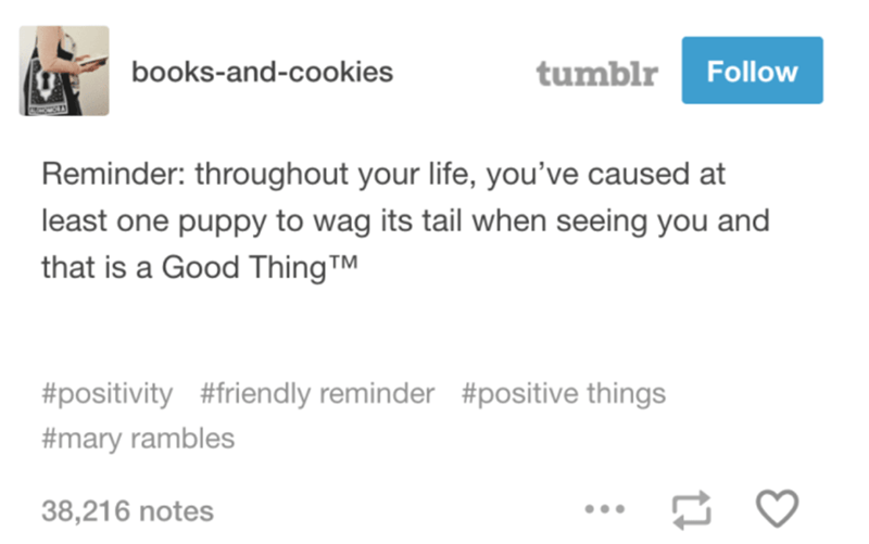 Text - tumblr Follow books-and-cookies Reminder: throughout your life, you've caused at least one puppy to wag its tail when seeing you and that is a Good ThingTM #positivity #friendly reminder #positive things #mary rambles 38,216 notes
