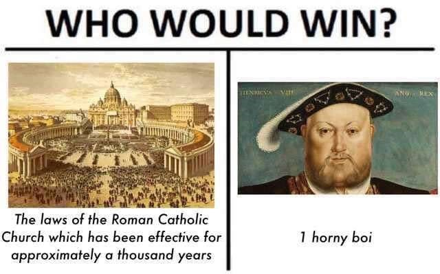 Text - WHO WOULD WIN? IENICS The laws of the Roman Catholic Church which has been effective for 1 horny boi approximately a thousand years