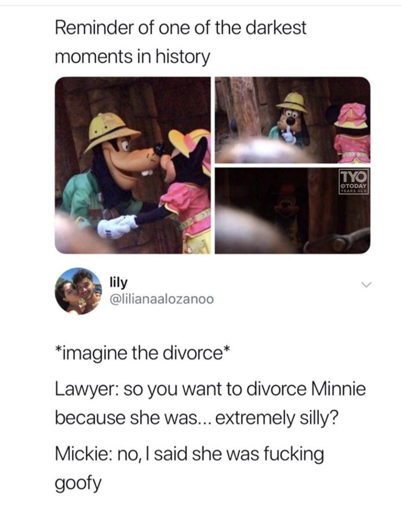 meme - Text - Reminder of one of the darkest moments in history TYO TODAY YEARS OLD lily @lilianaalozanoo imagine the divorce* Lawyer: so you want to divorce Minnie because she was... extremely silly? Mickie: no, I said she was fucking goofy