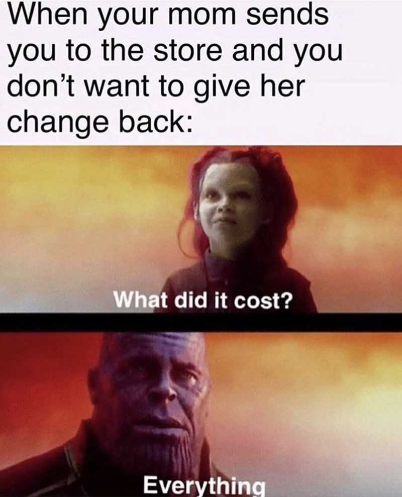 meme - Text - When your mom sends you to the store and you don't want to give her change back: What did it cost? Everything