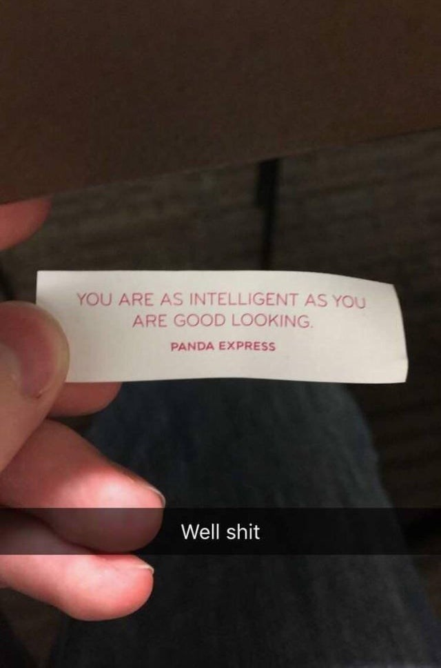 Text - YOU ARE AS INTELLIGENT AS YOu ARE GOOD LOOKING PANDA EXPRESS Well shit