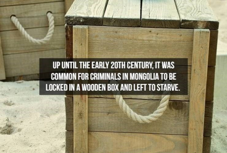Text - UP UNTIL THE EARLY 20TH CENTURY,IT WAS COMMON FOR CRIMINALS IN MONGOLIA TO BE LOCKED IN A WOODEN BOX AND LEFT TO STARVE