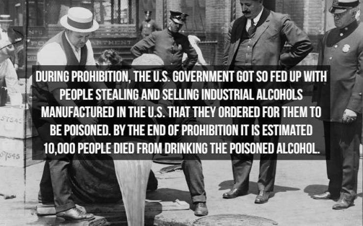 Font - DURING PROHIBITION, THE U.S. GOVERNMENT GOT SO FED UP WITH PEOPLE STEALING AND SELLING INDUSTRIAL ALCOHOLS MANUFACTURED IN THE U.S. THAT THEY ORDERED FOR THEM TO ST545 BE POISONED. BY THE END OF PROHIBITION IT IS ESTIMATED 10,000 PEOPLE DIED FROM DRINKING THE POISONED ALCOHOL 7545