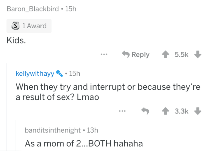 AskReddit - Text - Baron_Blackbird 15h S 1 Award Kids. 5.5k Reply kellywithayy15h When they try and interrupt or because they' a result of sex? Lmao 3.3k banditsinthenight 13h As a mom of 2...BOTH hahaha