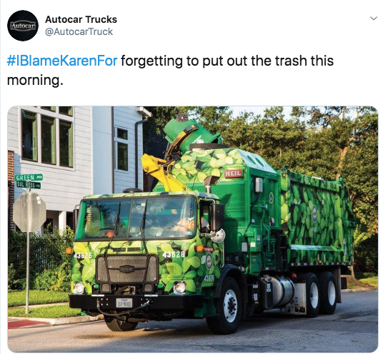 Transport - Autocar Trucks Autocar @AutocarTruck #IBlameKarenFor forgetting to put out the trash this morning HEIL GREEN SUL ESS 3626 3626
