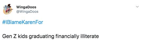 Text - WingaDoos @WingaDoos #IBlameKarenFor Gen Z kids graduating financially illiterate