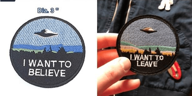 """Logo - Dia. 3"""" LWANT TO LEAVE I WANT TO BELIEVE"""