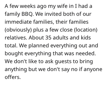 Text - A few weeks ago my wife in I had a family BBQ. We invited both of our immediate families, their families (obviously) plus a few close (location) relatives. About 35 adults and kids total. We planned everything out and bought everything that was needed. We don't like to ask guests to bring anything but we don't say no if anyone offers