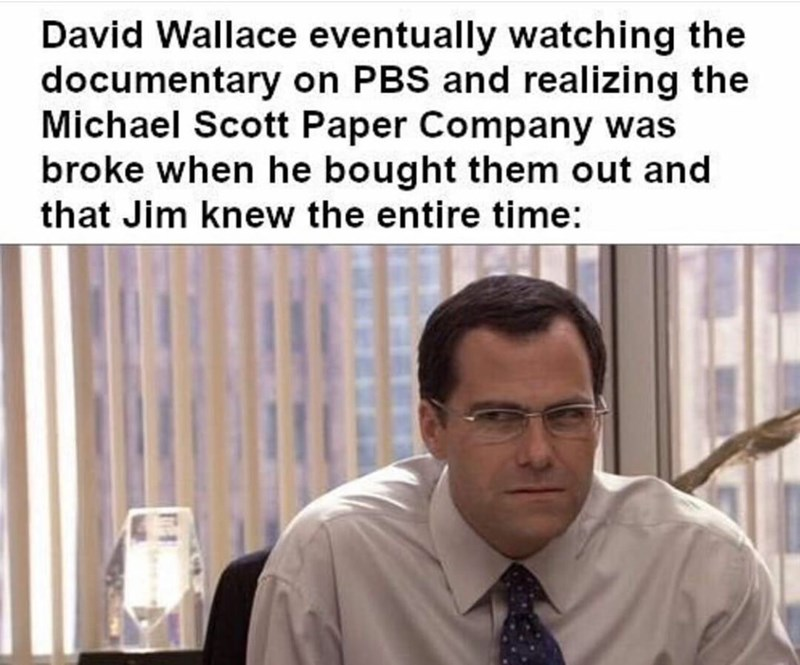 "Meme - The Office - ""David Wallace eventually watching the documentary on PBS and realizing the Michael Scott Paper Company was broke when he bought them out and that Jim knew the entire time"""