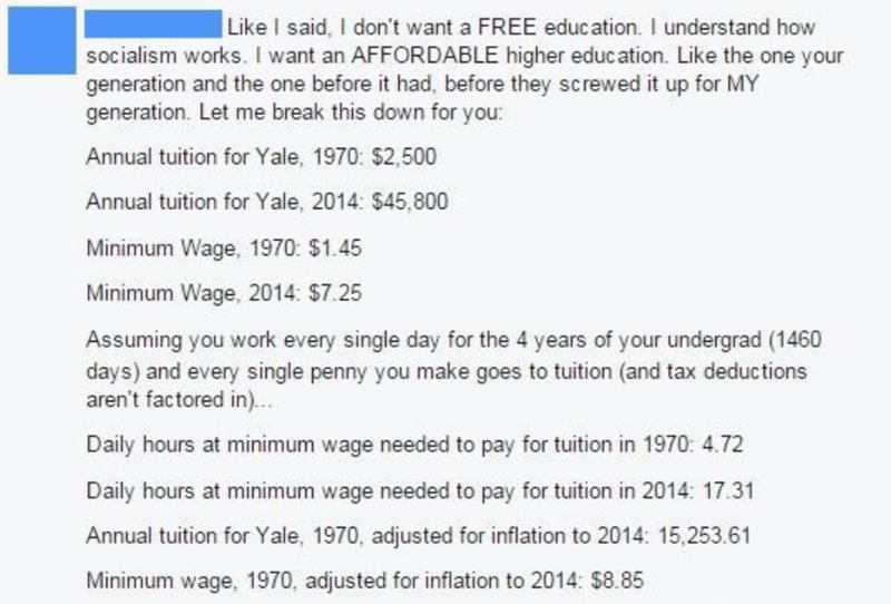 millennial - Text -   Like I said, I don't want a FREE education. I understand how socialism works. I want an AFFORDABLE higher education. Like the one your generation and the one before it had, before they screwed it up for MY generation. Let me break this down for you: Annual tuition for Yale, 1970: $2,500 Annual tuition for Yale, 2014: $45,800 Minimum Wage, 1970: $1.45 Minimum Wage, 2014: $7.25 Assuming you work every single day for the 4 years of your undergrad (1460 days) and every single p