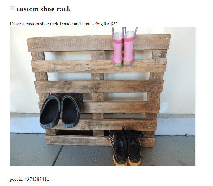 Wood - custom shoe rack I have a custom shoe rack I made and I am selling for $25. post id: 4374287411