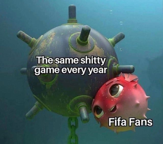 Meme about FIFA fans liking the same shitty game every year