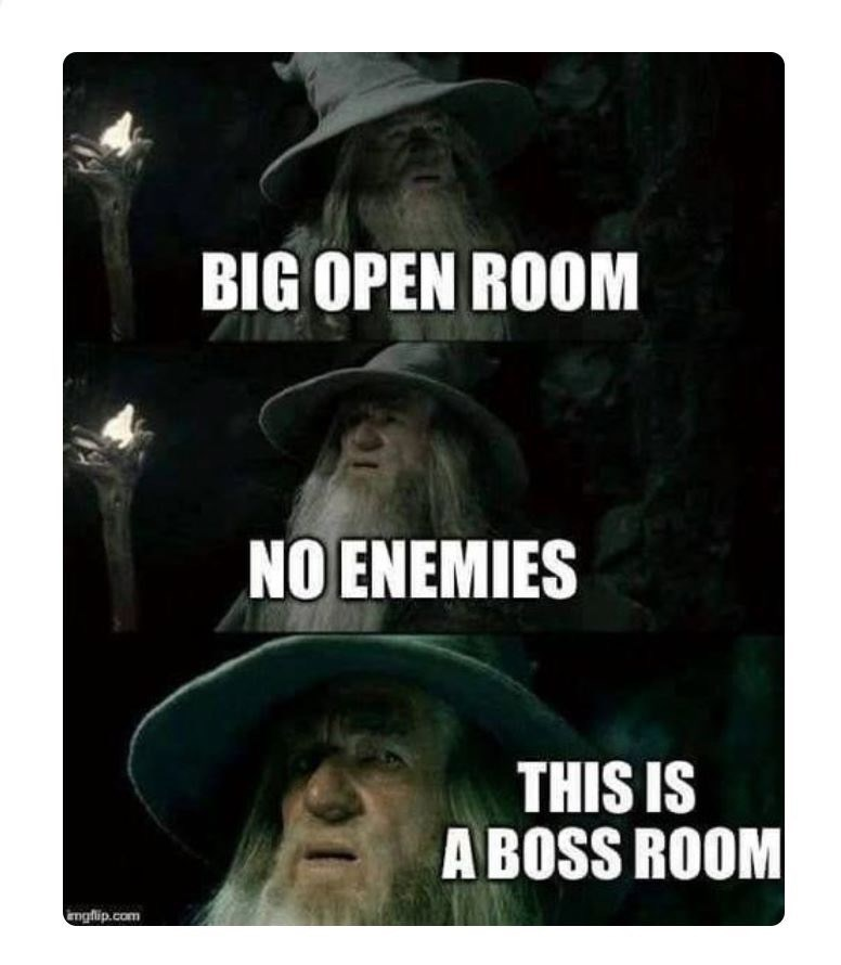 Text - BIG OPEN ROOM NO ENEMIES THIS IS A BOSS ROOM Emgflip.com