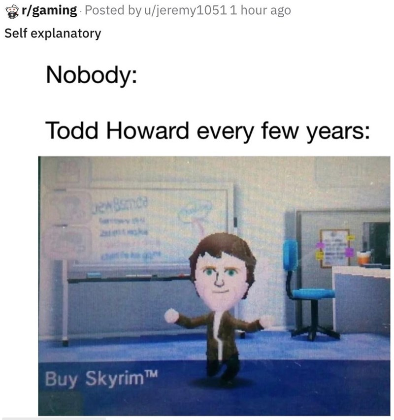 Text - r/gaming Posted by u/jeremy1051 1 hour ago Self explanatory Nobody: Todd Howard every few years: ewBnde Buy SkyrimTM