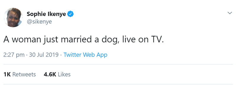 Text - Sophie lkenye @sikenye A woman just married a dog, live on TV. 2:27 pm 30 Jul 2019 Twitter Web App 4.6K Likes 1K Retweets