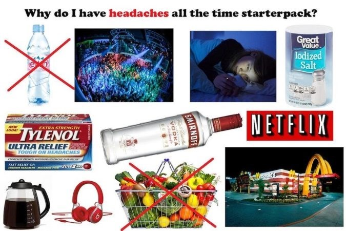 Product - Why do I have headaches all the time starterpack? Great Value lodized Salt e as NETFLIX NEW EXTRA STRENGTH TYLENOL ULTRA RELIEF TOUGH ON HEADACHES cNICALLE PROVEN suPO EADCHE PAN BE FAST RELIEF OF 20jezl rEsoN READACH SMIRNOFF VODKA